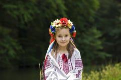 Meisje in Oekraïens nationaal kostuum Stock Foto's