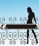 Meisje, omheining en bloemen - vector Royalty-vrije Stock Afbeeldingen