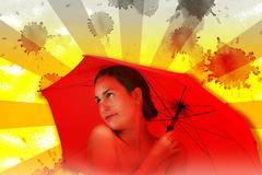 Meisje omvat met een rode paraplu Royalty-vrije Stock Fotografie