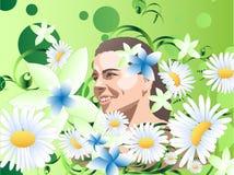 Meisje onder de bloemen Stock Foto's