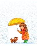Meisje onder een Paraplu vector illustratie