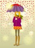 Meisje onder regen van kleine harten stock illustratie