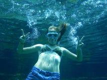 Meisje Onderwater Royalty-vrije Stock Afbeelding