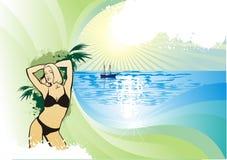 Meisje op achtergrond van de palmen Stock Afbeeldingen