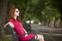Meisje op de bank Royalty-vrije Stock Foto