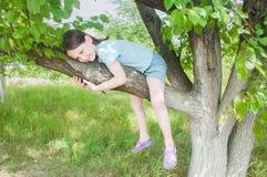 Meisje op de boom Stock Fotografie