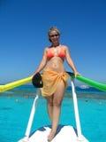 Meisje op de boot Royalty-vrije Stock Afbeeldingen