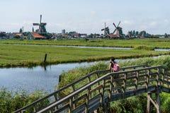 Meisje op de brug die op de Windmolens van Zaanse kijken Schans Eenzaam meisje tegengesteld aan overvol sightseeing royalty-vrije stock fotografie