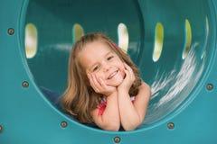 Meisje op de Dia Stock Foto's