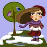 Meisje op de lenteachtergrond stock illustratie