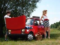 Meisje op de picknick met mand en wijn Stock Fotografie