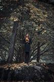 Meisje op de rots stock afbeelding