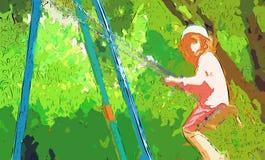 Meisje op de schommeling stock illustratie