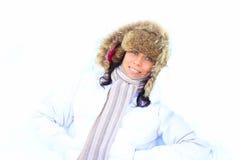 Meisje op de sneeuw Stock Foto's