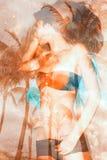 Meisje op de strand dubbele blootstelling Stock Afbeelding