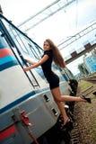 Meisje op de trein Royalty-vrije Stock Afbeeldingen