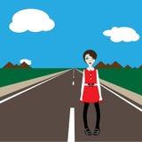 Meisje op de weg royalty-vrije illustratie
