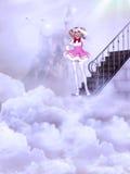 Meisje op de wolken Royalty-vrije Stock Afbeeldingen