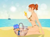 Meisje op de zomervakantie vector illustratie
