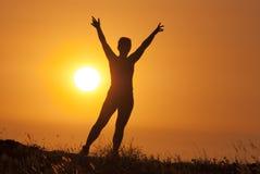 Meisje op de zonsondergangachtergrond Stock Afbeeldingen