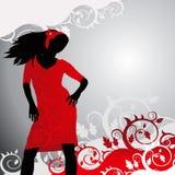 Meisje op een bloemachtergrond Royalty-vrije Stock Afbeelding