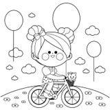 Meisje op een fiets bij het park Zwart-witte kleurende boekpagina stock illustratie