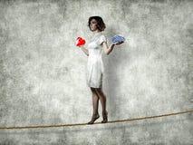 Meisje op een kabel Royalty-vrije Stock Fotografie