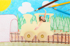 Meisje op een Trein Stock Afbeelding