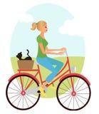 Meisje op fiets Royalty-vrije Stock Foto's