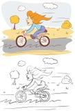 Meisje op fiets Stock Foto's