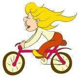 Meisje op fiets vector illustratie