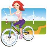 Meisje op fiets Stock Afbeelding