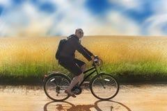 Meisje op fiets - de zomer het biking royalty-vrije stock foto's