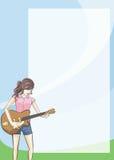 Meisje op gitaarAgenda en blocnote. Royalty-vrije Stock Afbeelding