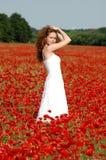 Meisje op het gebied met papavers Royalty-vrije Stock Fotografie