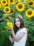 Meisje op het gebied van zonnebloemen Royalty-vrije Stock Afbeelding