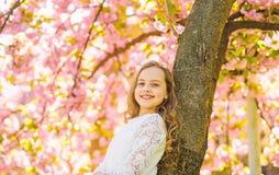 Meisje op het glimlachen gezicht die zich dichtbij sakura, helling op boomboomstam bevinden Meisje met lang haar openlucht, kerse stock afbeelding