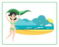 Meisje op het strand Stock Afbeeldingen