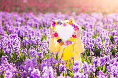 Meisje op hyacintgebied Stock Foto