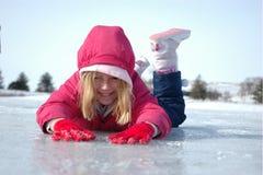 Meisje op Ijs Stock Fotografie