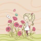 Meisje op papavergebied royalty-vrije illustratie