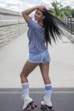 Meisje op rolschaatsen Royalty-vrije Stock Foto's
