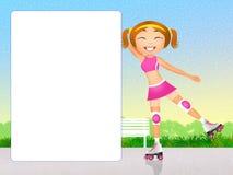 Meisje op rolschaatsen royalty-vrije illustratie