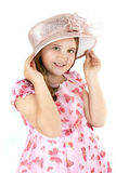 Meisje op roze hoed royalty-vrije stock foto