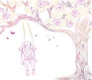 Meisje op schommeling vector illustratie