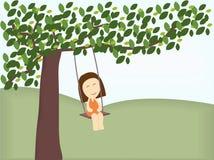 Meisje op schommeling stock illustratie