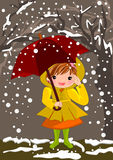 Meisje op sneeuwdag royalty-vrije stock fotografie