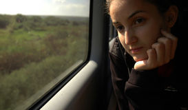 Meisje op trein #4 Stock Fotografie