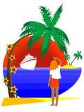 Meisje op tropisch eiland vector illustratie
