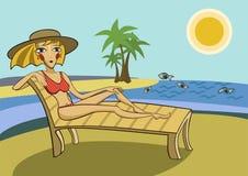 Meisje op vakantie vector illustratie